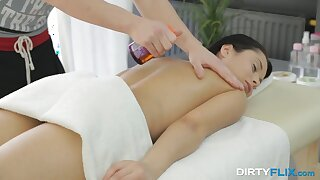 Brunette with perky nipples Kristall Rush gets her pussy massaged and fucked