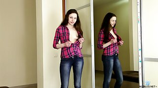 Bonny student Annet is playing roughly her ninnies and wet pussy