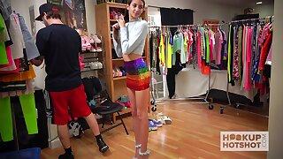 Topless launching run session of pretty girl with skinny body Natalia Nix