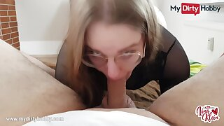MyDirtyHobby - Nerdy babe swallows for transmitted to first time POV