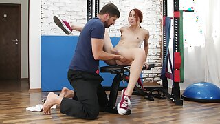 Sweetie works out with a difficulty addition of fucks onwards gym