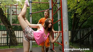 Ductile naturally dominate teen gets fucked after some accurate street workout