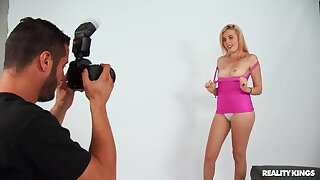Hot blonde model Kiera Daniels gets pounded by a photographer