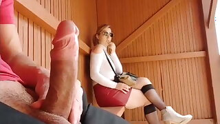 I pull out my cock before bus stop, incredible reaction!!