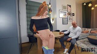 Emaciated Mia Bandini shakes her pert ass be useful to baldhead guy