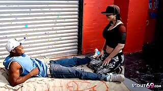 PAWG Saggy Bosom Teen let Homeless Black Guy fuck her Publicly