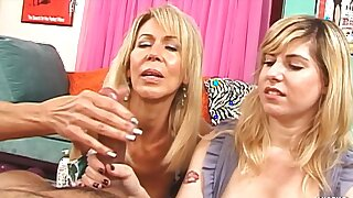Mature woman teaches the stepdaughter how to give a handjob