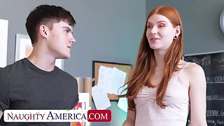 Naughty America: Take charge hot and slutty redhead Jane Rogers fucks in the classroom on PornHD