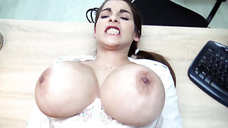 Youthful stunner with humungous tits nails for money